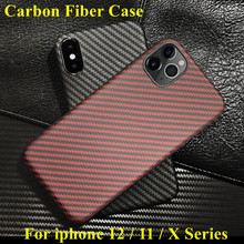 Aramid fiber Back Cover For apple iphone 11 pro max XS XR X 12 mini Protective Case carbon Cases and covers  bumper