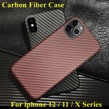 Coque arrière en fibre daramide pour apple iphone 11 pro max XS XR X 12 mini coque de protection en carbone