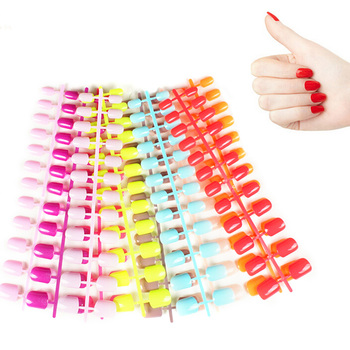 31 Kleur 24 Stuks Korte Valse Nagels Nep Nagels Abs Kunstmatige Vinger Tips Druk Op Korte Ronde Nail Art Decoraties made Up image