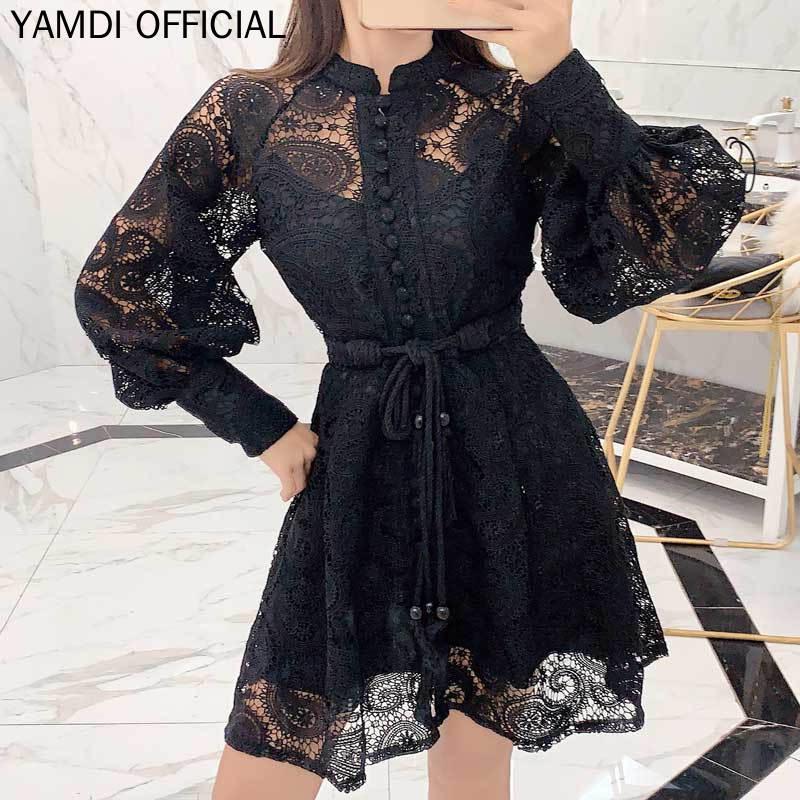 YAMDI noir dentelle fête mariage coctail robe femmes automne hiver 2019 à manches longues mini souper chic mini robe plissée ceinture