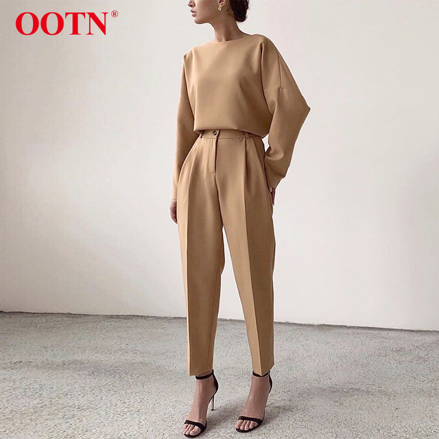 OOTN Casual High Waist Khaki Pants Women Autumn Winter Brown Ladies Office Trousers Zipper Pocket Solid Female Pencil Pants 2