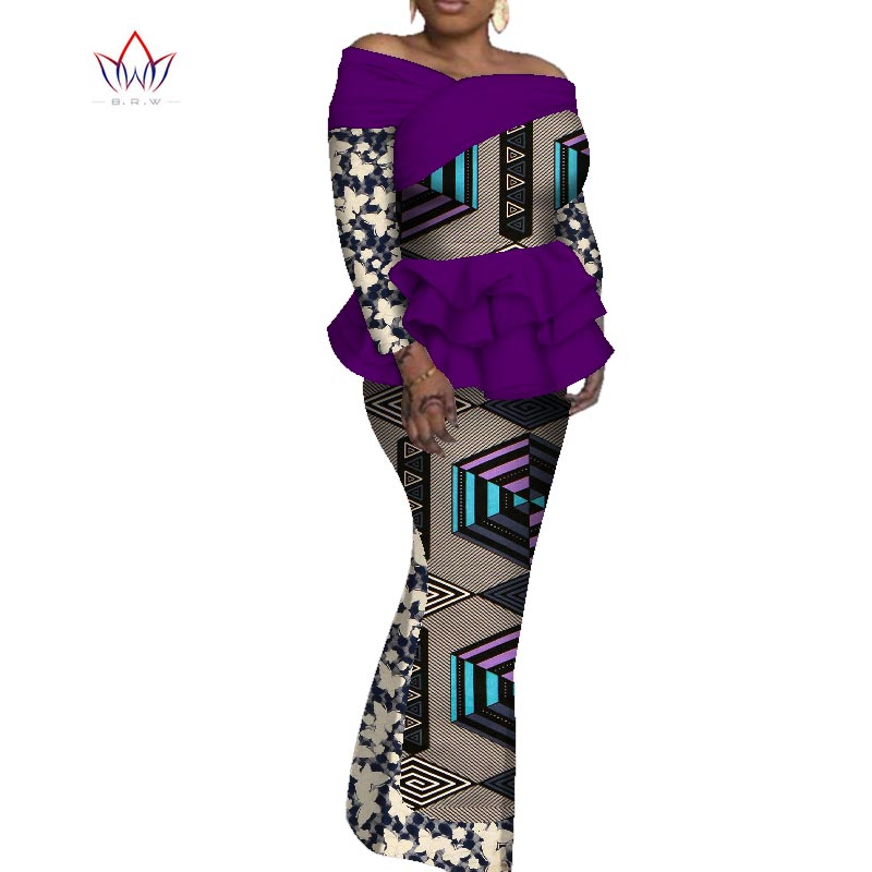 2020 African Dresses For Women Full Sleeve Ladies Suit Africaine Dashiki Fashion Nigerian Traditional Clothing Plus Size WY5763