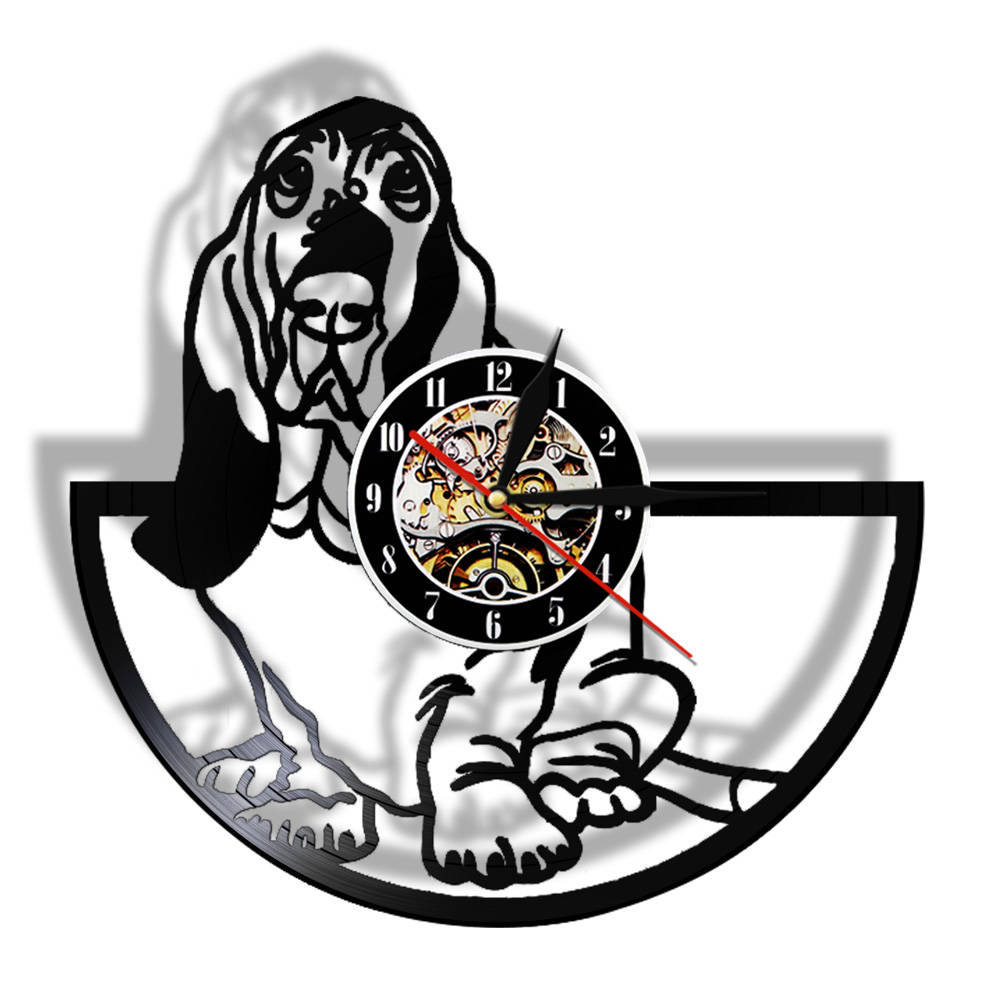 Basset Hound Canine Pet Grooming Vinyl Record Wall Clock Gift For Dog Lovers Handmade Puppy Wall Art Watch Decor Animals Design