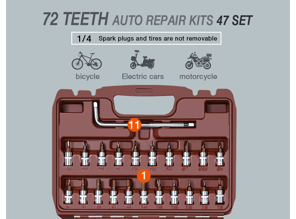 AI-ROAD Household Multifunction Car Repair Tool Kit Home 72 teeth