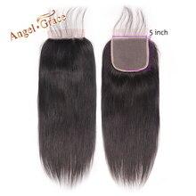 מלאך גרייס שיער 5x5 ישר סגירת תחרה חינם/התיכון חלק שיער טבעי צבע טבעי ברזילאי רמי סגירת שיער עם תינוק שיער