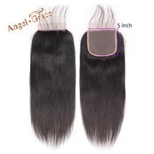 Angel Grace Hair, 5x5, прямые, кружевные, свободные/средние, человеческие волосы, натуральный цвет, бразильские волосы Remy, с закрытием, Детские волосы