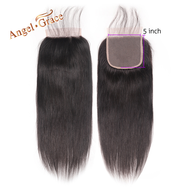 Melek Grace saç 5x5 düz dantel kapatma ücretsiz/orta kısmı İnsan saç doğal renk brezilyalı Remy saç kapatma ile bebek saç