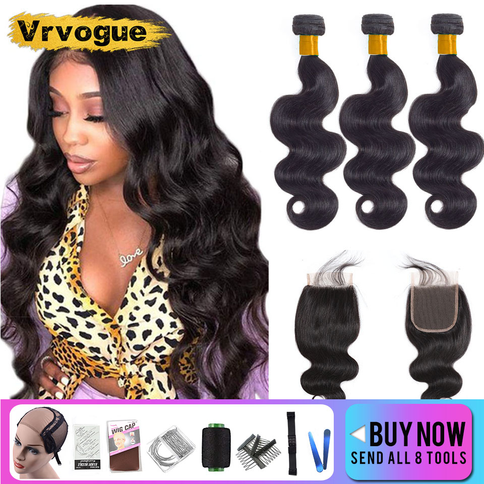 8-30 Inch Body Wave Bundles With Closure Remy Brazilian Hair Weave Bundles With 4x4 Lace Human Hair Extension Free Shipping