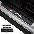 4 шт. углеродного волокна порога протектор наклейки кожаные виниловые наклейки для Хонда сrv CR-V 2017 2018 2019 2020 автомобильные аксессуары