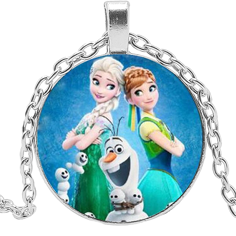2019 New Hot Glass Dome Princess Elsa Anna Snow Queen Popular Pendant Necklace Girl Gift Jewelry in Pendant Necklaces from Jewelry Accessories
