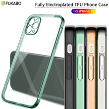 Luxury Plating Straight Edge Transparent Case For iPhone 12 11 Pro Max Mini X XR XS 8 7 6 6S SE Plus Ultra Thin Protective Cover