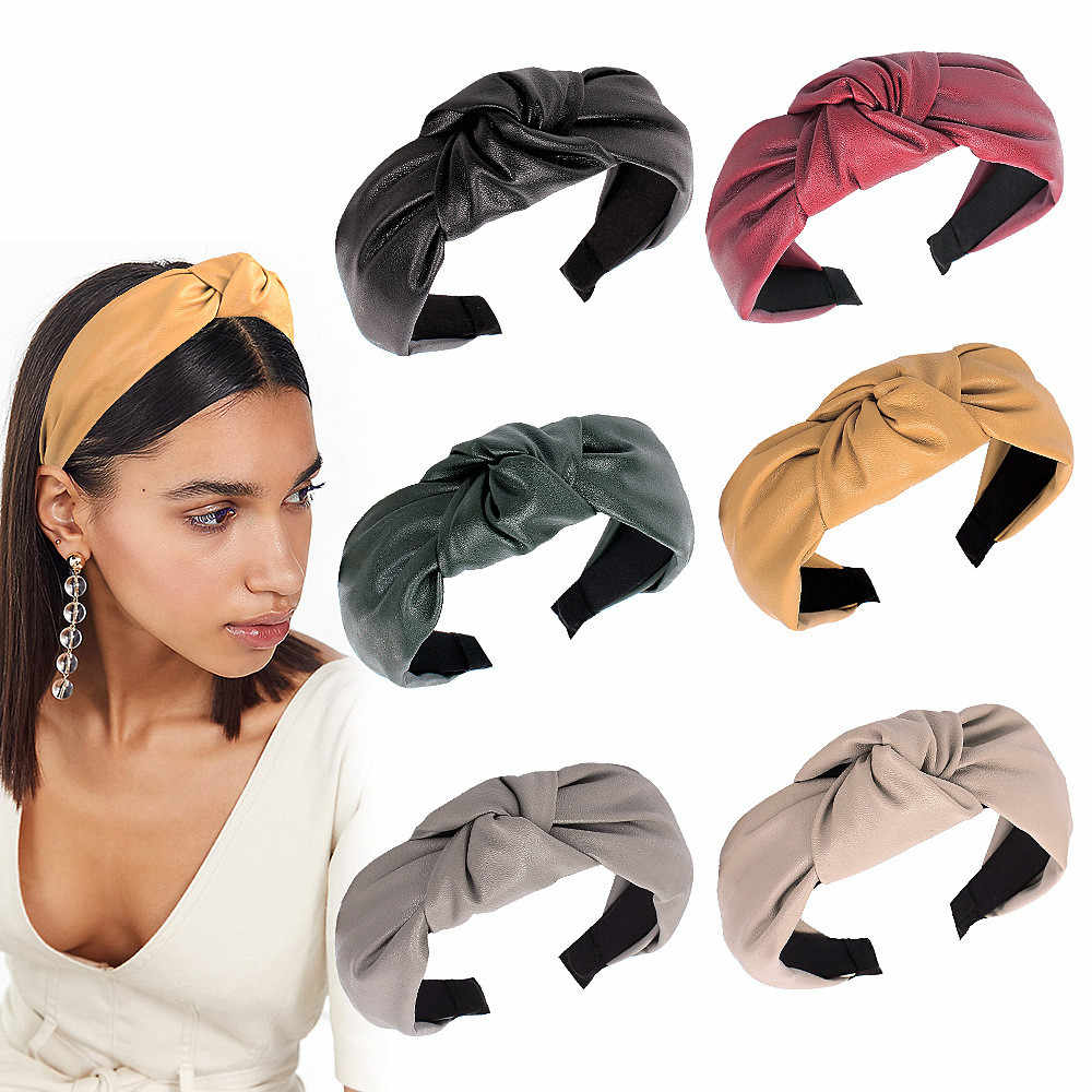Top Knot Turban Headband Elastic PU Hairband Hair Accessories For Girls No Slip Stay On Knotted Head band Hair Band For Women