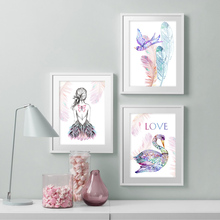 Color Girl Feather Bird Swan Cartoon Wall Art Print Canvas Painting  Nordic Posters And Prints Pictures Kids Room