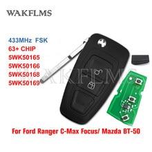 5WK50165 2 botões Virar chave 434mhz FSK 4D63 chip para Ford Ranger Foco Mondeo 2011 2012 2013 2014 2015 5WK50166 AB39-15K601-DA