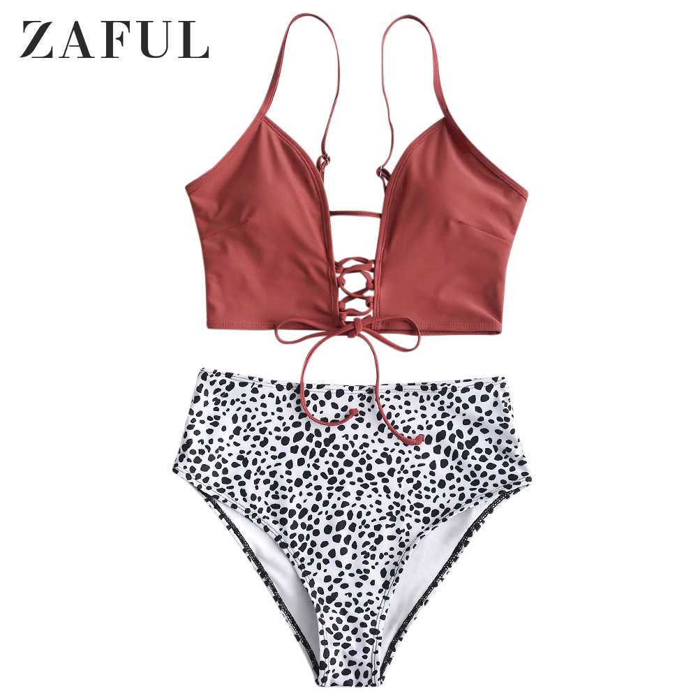ZAFUL Dalmatian Dot Lace-Up High Waisted Tankini For Women Swimsuit Mix And Match Spaghetti Straps Elastic Lace Up Tankini Set