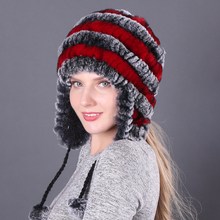 New Winter Fur Hats For Women Knitted Rex Rabbit Fur Hat With Ball Ear Caps Casual Lady Bomber Hats Beanies 2016 new fashion winter casual fur hats for women ear protect cotton knitted caps women fur ball beanies outdoor ski party