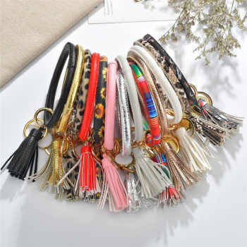 Enamel PU Leather O Keychain For Women Girls Fashion Multiful Tassel Key Chain Round Bag Car Pendant Wristlet Keyring Gifts - DISCOUNT ITEM  39% OFF All Category