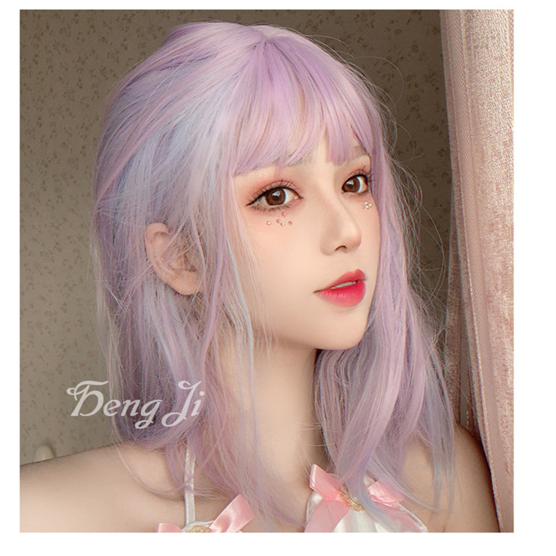 Image 3 - Uwowo Purple And pink Wig Staight Lolita Wigs Cosplay Wigs Heat Resistant Synthetic Hair Anime Party wigs Colourful hairAnime Costumes   -