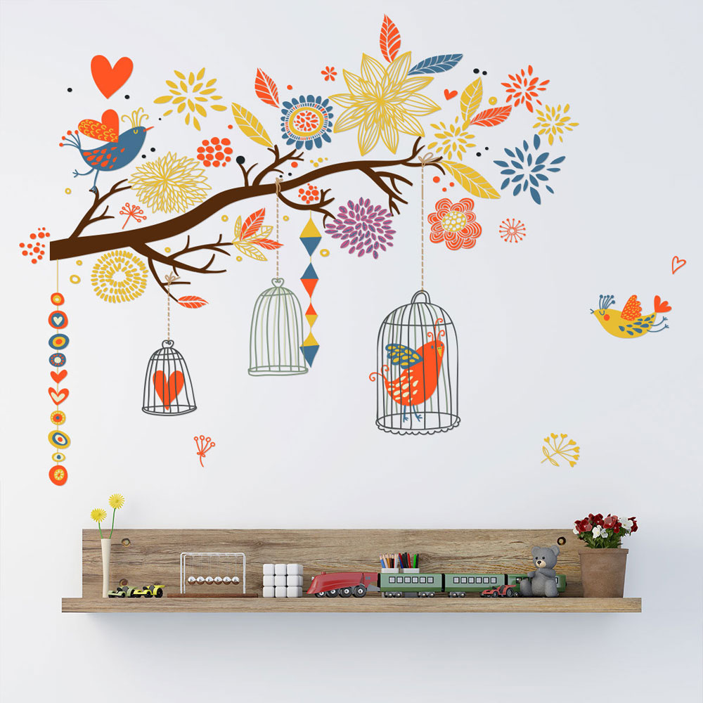Colorful Branch Bird Cage Wall Sticker Living Room Bedroom Home Decoration Kids Rooms Art Decals Wallpaper Creative Stickers
