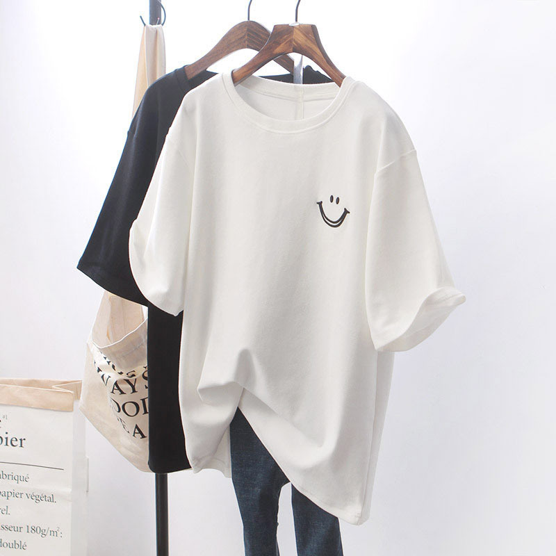 Loose White Short Sleeve T-shirt Women's Top 2020 New Korean Smiling Face Printed Women's O-Neck  Tops Plus Size