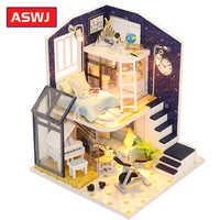 Roombox-Mini casa de muñecas de madera para niños, juguete en miniatura para montar, con muebles, luces LED