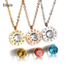 Eleple 4 Color Zircon Replacement Stainless Steel Necklace Roman Numeral Necklaces for Women Dropshipping Gift Jewelry S-HN01