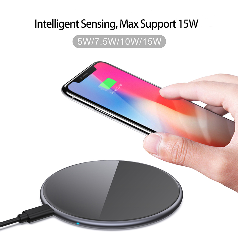 Robotcube Metal 15W Wireless Charger Mirror Fast Charging for iPhone 8 X XR XS Max Samsung S10 S9 Desktop Wireless Charger Pad