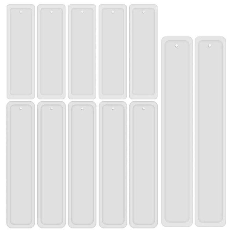12 Pçs/set Retângulo Molde de Silicone Bookmark Marcador DIY Mould Fazendo Jóias de Resina Epóxi