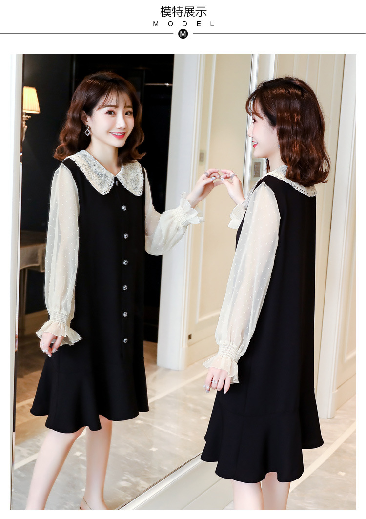 Cotton Spring Dress for Pregnant Women Maternity Summer Clothes for Pregnancy Black Pregnant Dress (12)