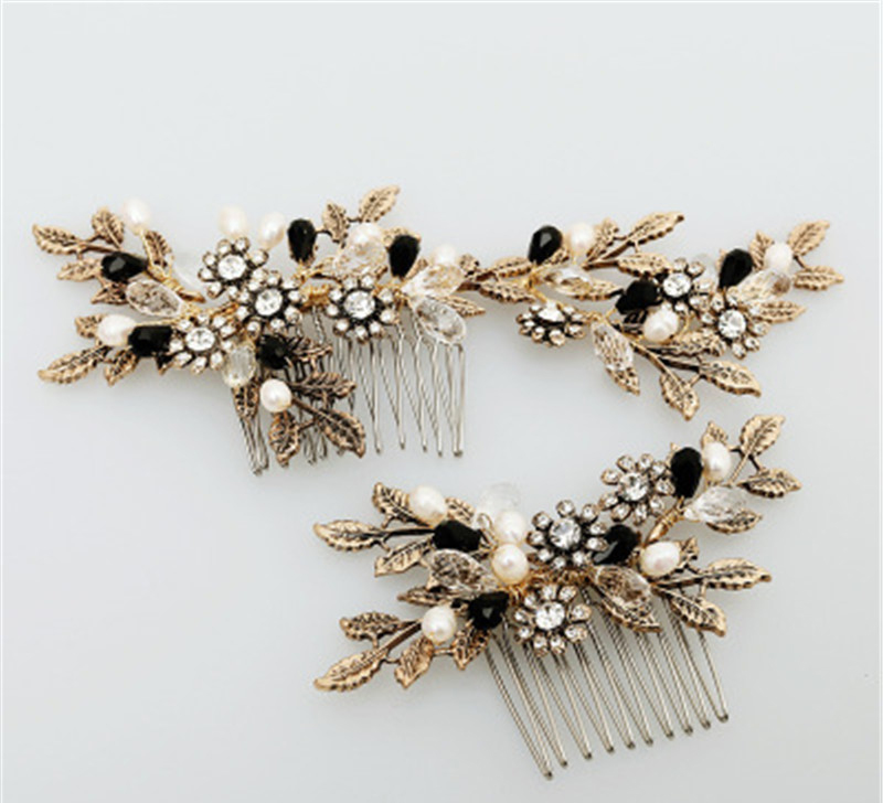 gold Wedding Headdress For Bride Pearl Hair Accessories Hairpin Ornaments NS