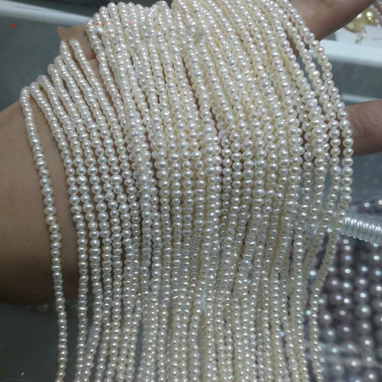 Natural freshwater pearl loose beads Handmade simple glare near round pearl strips For DIY bracelet necklace jewelry accessories