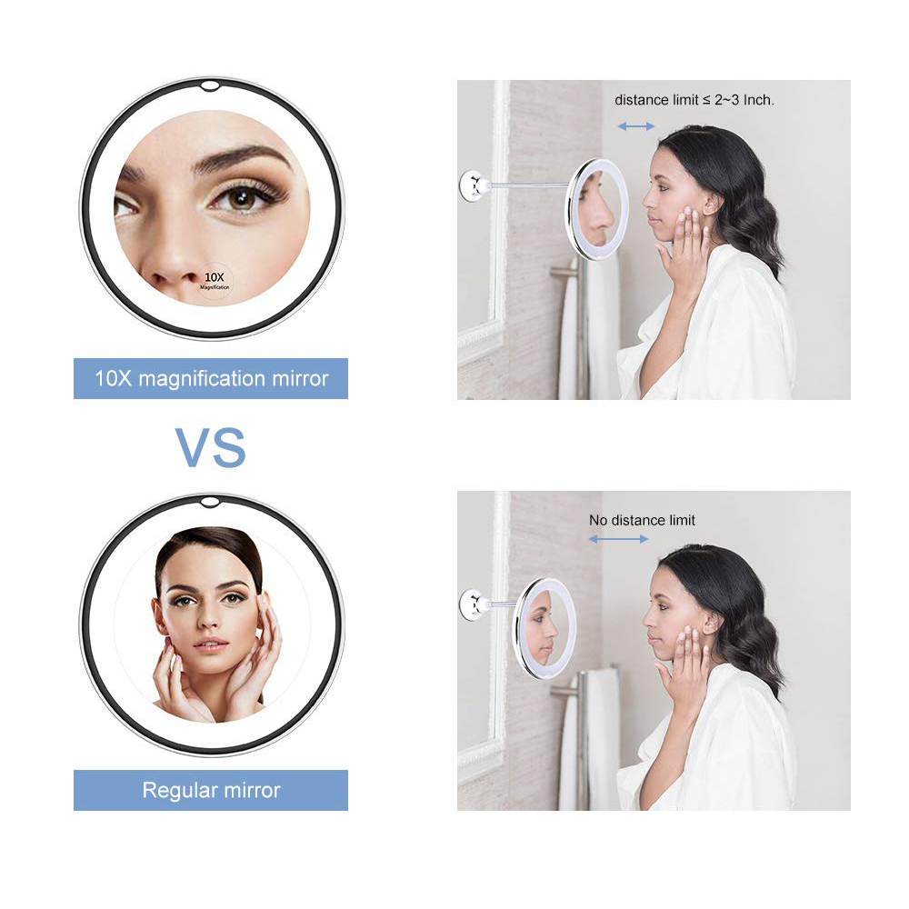 LED Makeup Mirror Magnifier Lamp Vanity Mirror 360 Degree Rotation 10X Magnifying Glass Mirror LED Table Night Light Bathroom 4