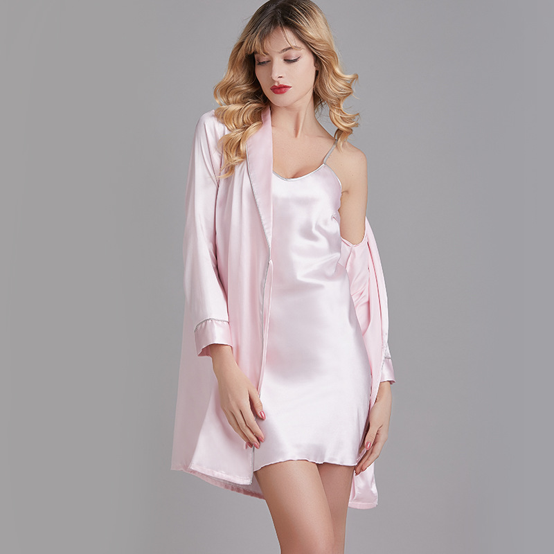 New  Summer 2020 pajamas female silk nightgown two-piece embroidery Bride Bride robe morning robe 1533