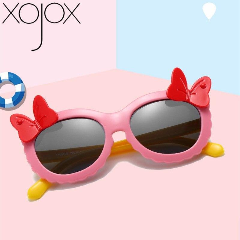 XojoX Girls Bow Polarized Sunglasses Round Frame Eyewear UV400 Silicone Comfortable Children Outdoors Goggles Baby Sun Glasses