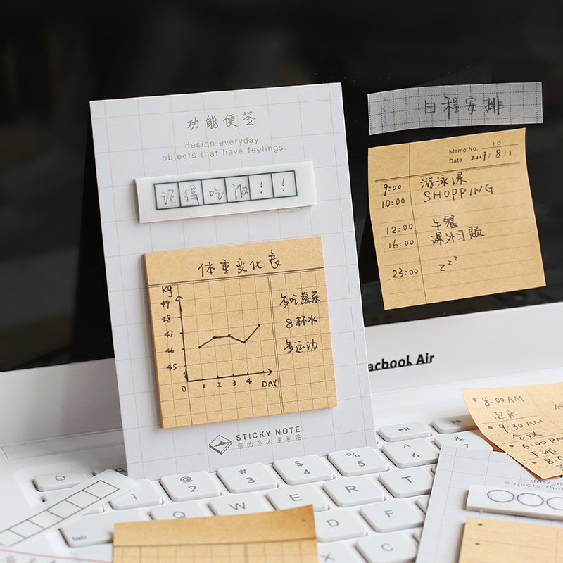 4pcs Functional Sticky Note Set Grid To Do List Planner Adhesive Memo Pad Post Stickers Marker It Stationery Office School A6756