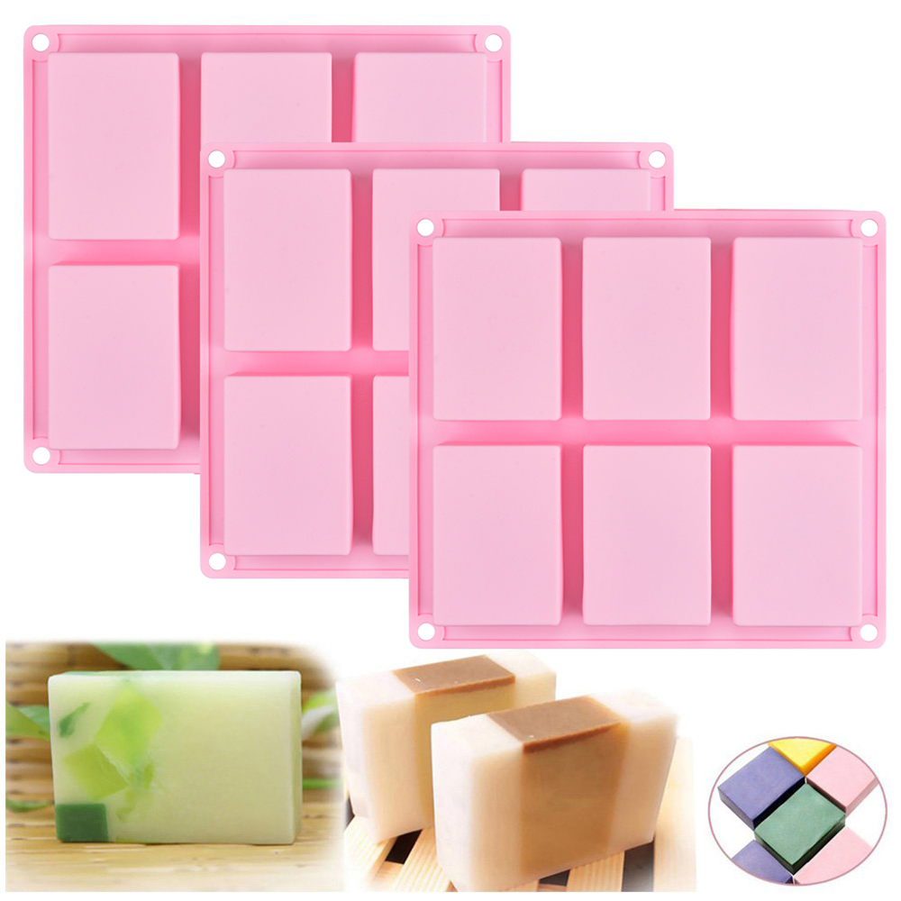 SJ 6 Cell Rectangular Thick Silicone Soap Mold For Handmade Craft DIY Homemade Decorative Soap Making Mould