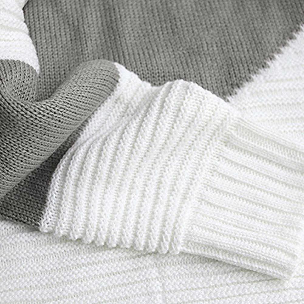 Multicolor Herbst Winter Frauen Pullover Oansatz Gestrickte Jumper Top Lose Beiläufige Warme Pullover Frauen Patchwork Gestrickte Pullover