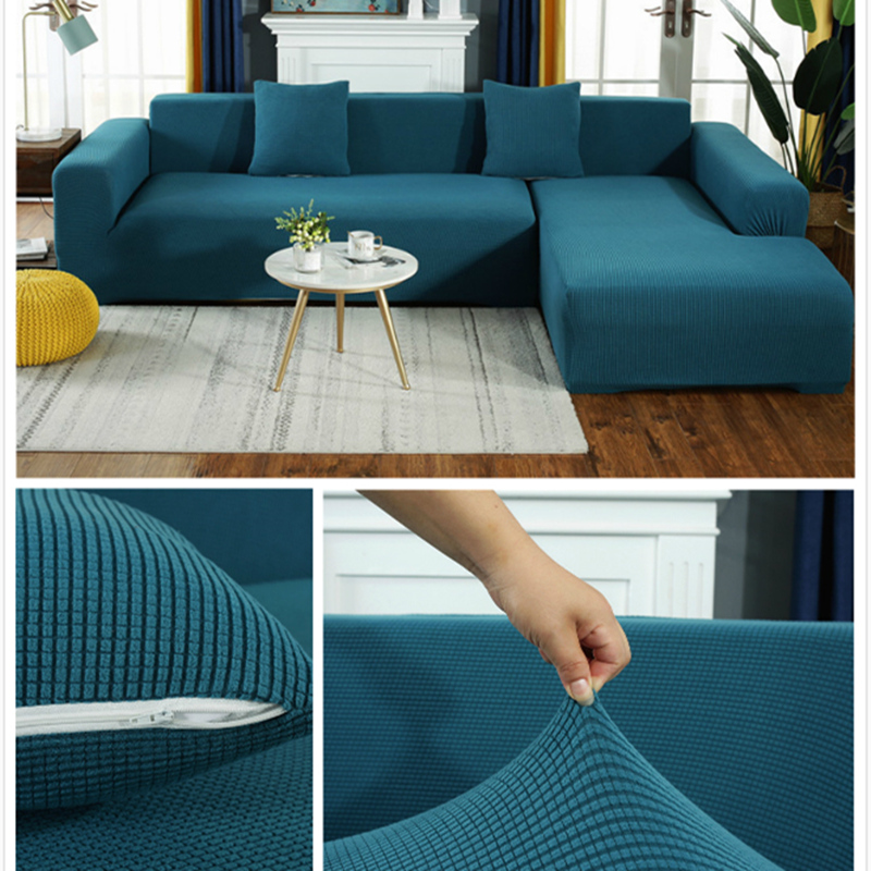 Saoltexi Plush Fabirc Elastic Sofa Cover Solid L Shape Sofa Covers Velvet for Living Room Stretch