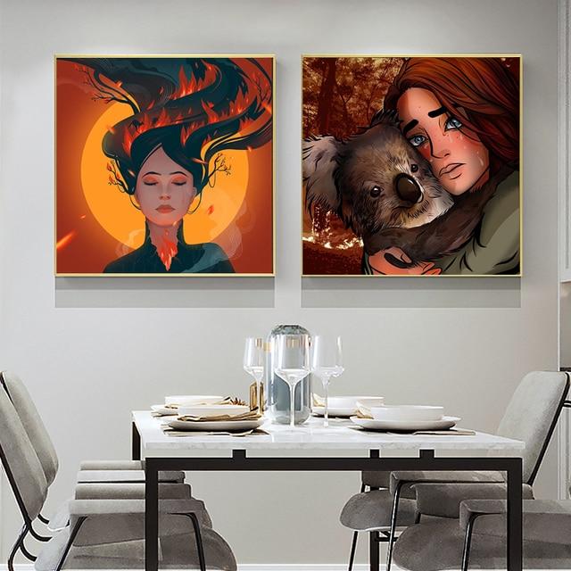 Obraz na płótnie zwierzęta w lesie ogień ściany zdjęcia zwierząt obraz z postaciami plakaty i druki bezramowe