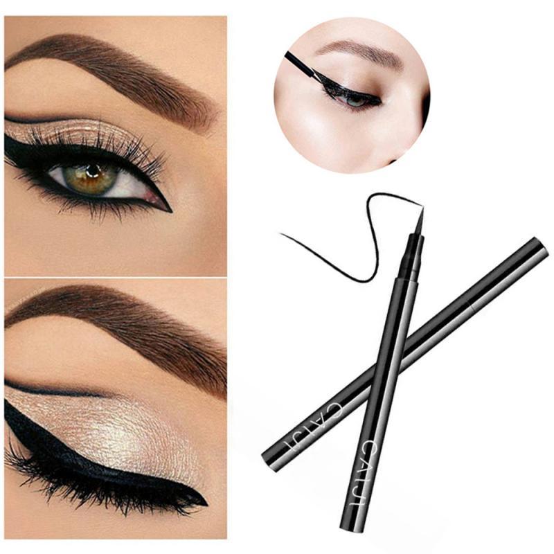 Delineador de ojos negro de secado rápido, resistente al agua, maquillaje duradero, no está floreciendo, utensilios de maquillaje para ojos, 1 ud.