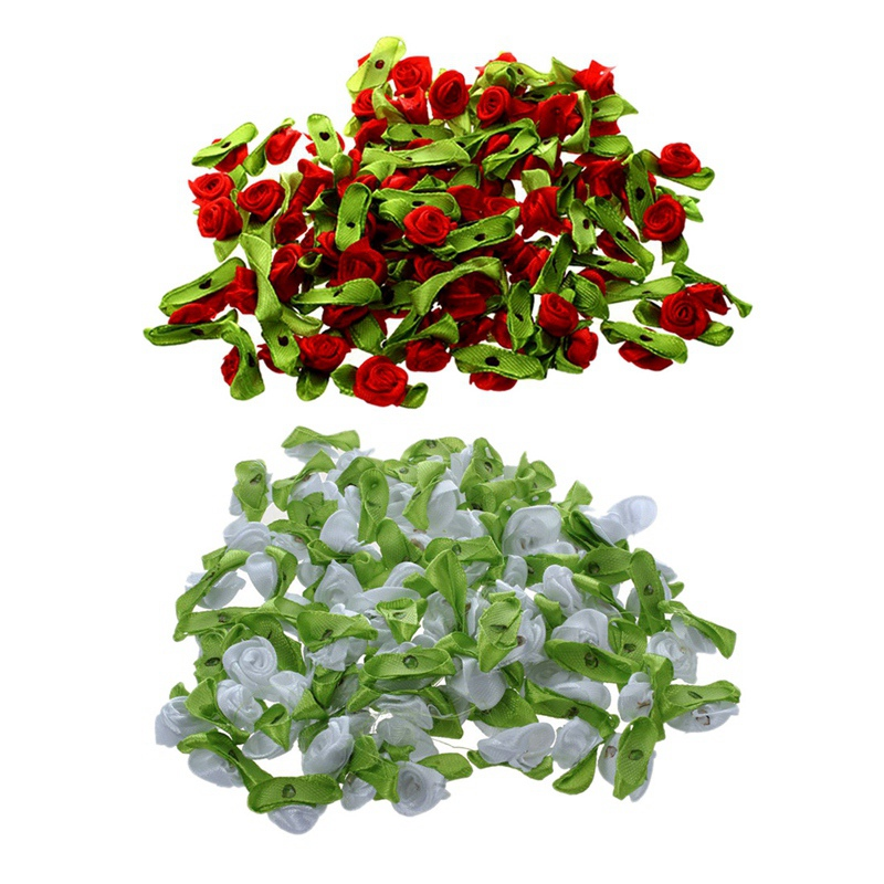 200 Pcs Mini Satin Ribbon Rose Flower Leaf Wedding Decor Appliques Sewing DIY Main , 100 Pcs White With 100 Pcs Red