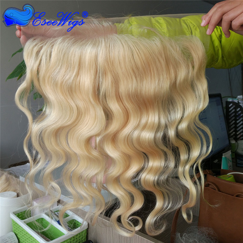 Eseewigs Blonde 613 13X4 Lace Frontal Body Wave Peruvian Remy Hair Transparent Lace Frontal Closure Baby Hair Bleached Knots