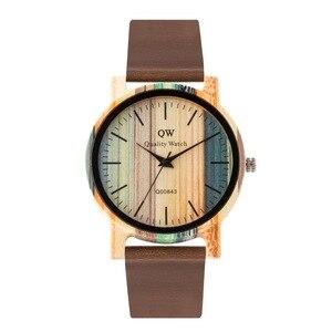 Image 3 - QW ספורט עץ שעוני יד אופנה עור צבעוני נשים בנות מותאם אישית עץ במבוק שעון