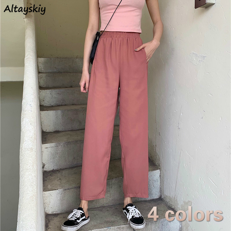 Pants Women Solid Ankle-Length Elastic Waist Pockets Loose Straight Korean Style Casual 2020 Trendy Vintage Womens Daily Leisure