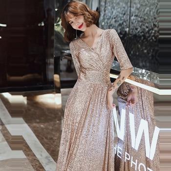 Sparkle Sequined Evening Dresses It's Yiiya K004 Double V-neck Evening Dress Elegant Robe De Soiree 2020 Plus Size Evening Gown 5