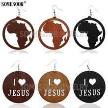 Drop-Earrings Somesoor Jewelry Wooden Laser-Cutting-African I-Love-Jesus Wholesale Women