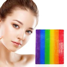 Rainbow Essential Oil Soap Cleaning Washing Hand Shower Treatment Lackhead Remover Bathroom Acne Soap Oil-control J7B6
