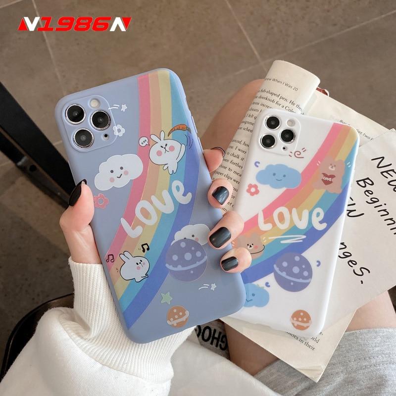 N1986N Phone Case For iPhone 11 Pro X XR XS Max 6 6s 7 8 Plus SE 2020 Fashion Cute Cartoon Rainbow Rabbit Soft tpu For iPhone 11