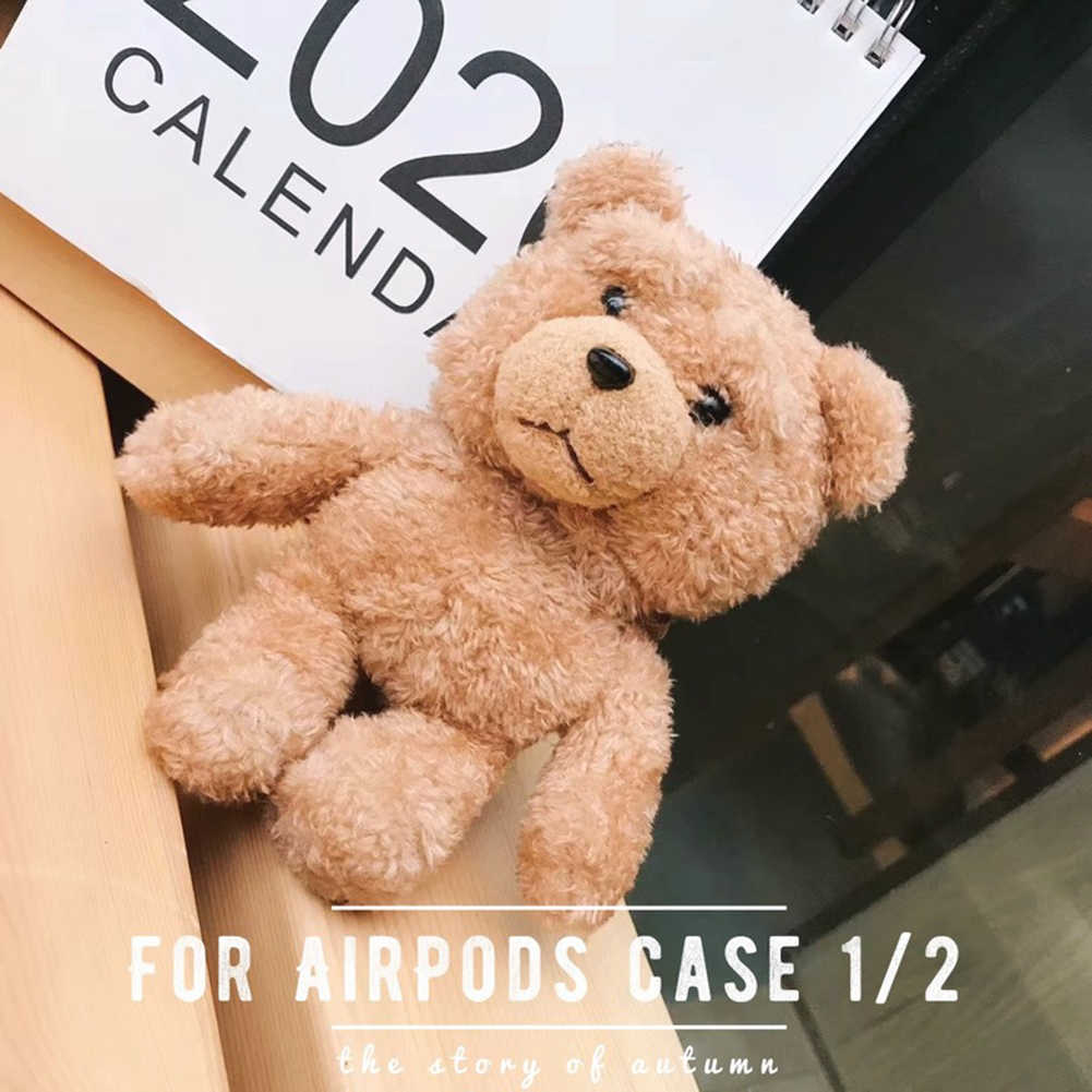 Plush Teddy Bear Airpods Cover Apple Shockproof Headphones Set Compatible for AirPods 1 and 2 Protection Box Cartoon Gift Boxes