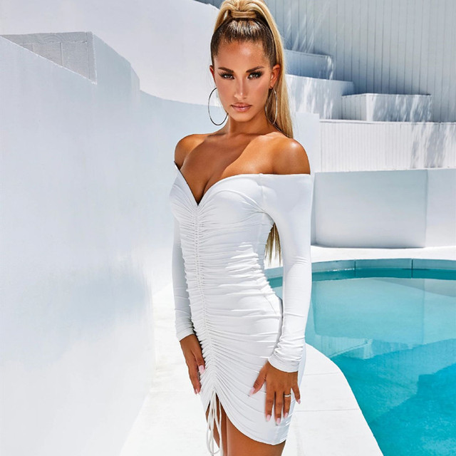 ANJAMANOR Sexy Club Dresses Woman Party Night Drawstring Ruched Off Shoulder Long Sleeve Bodycon Bandage Dress Fall D36-AA43 3